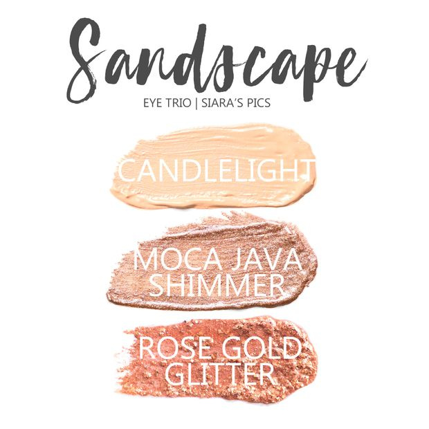 Sandscape Eye trio, Candlelight ShadowSense, Moca Java Shimmer SHadowsense, Rose Gold GLitter Shadowsense