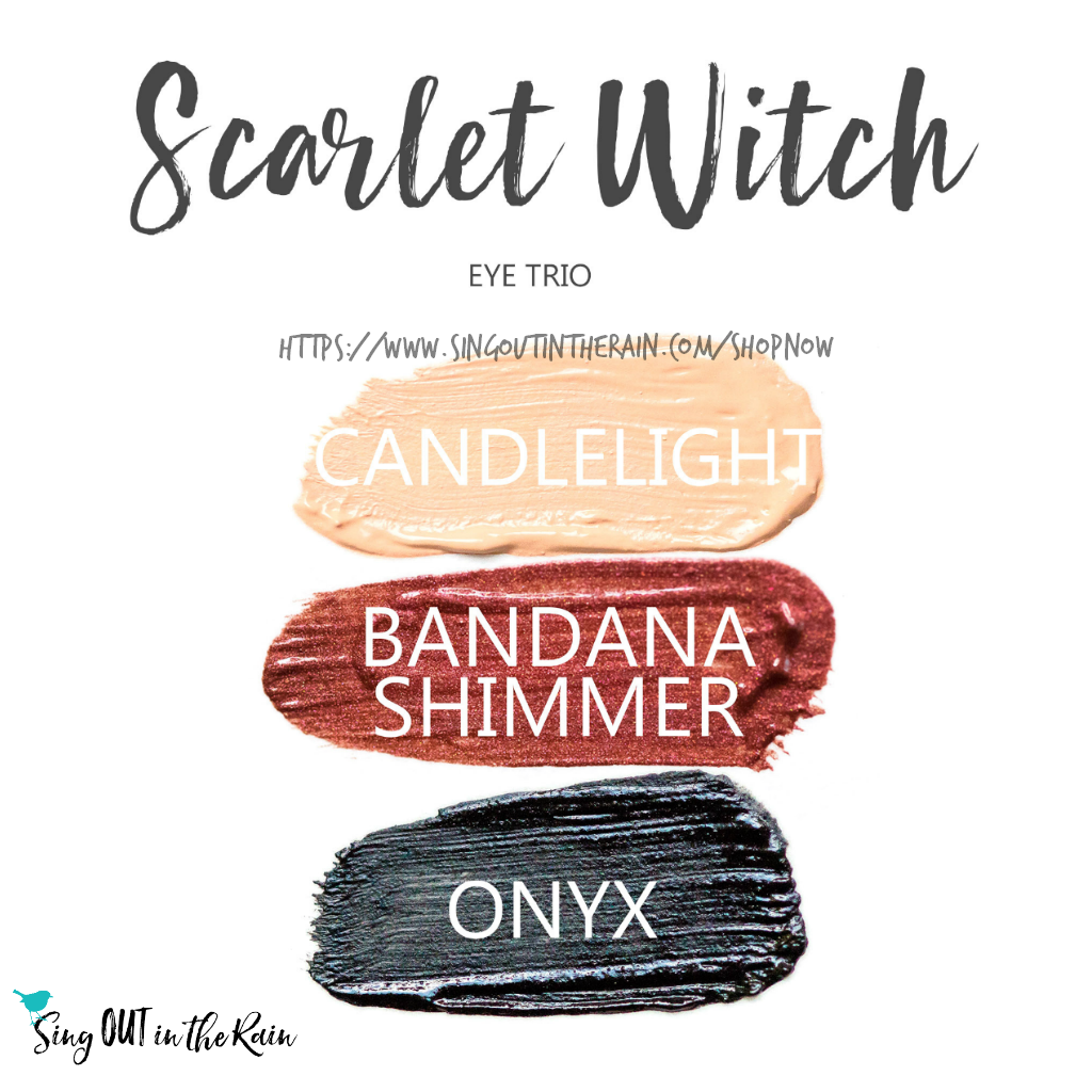 Scarlet Witch Eye Trio, Candlelight ShadowSense, Bandana Shimmer ShadowSense, Onyx ShadowSense