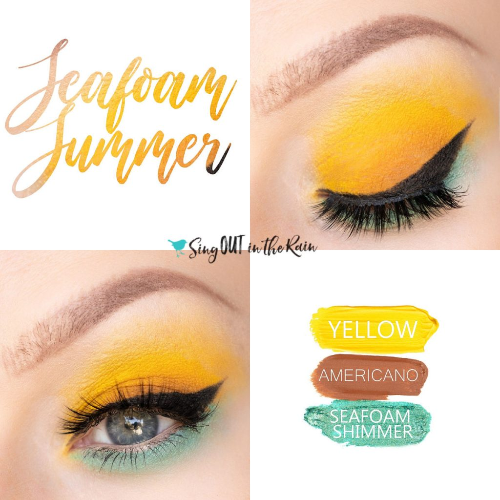 Seafoam Summer Eye Trio, yellow Shadowsense, seafoam shimmer shadowsense, americano shadowsense