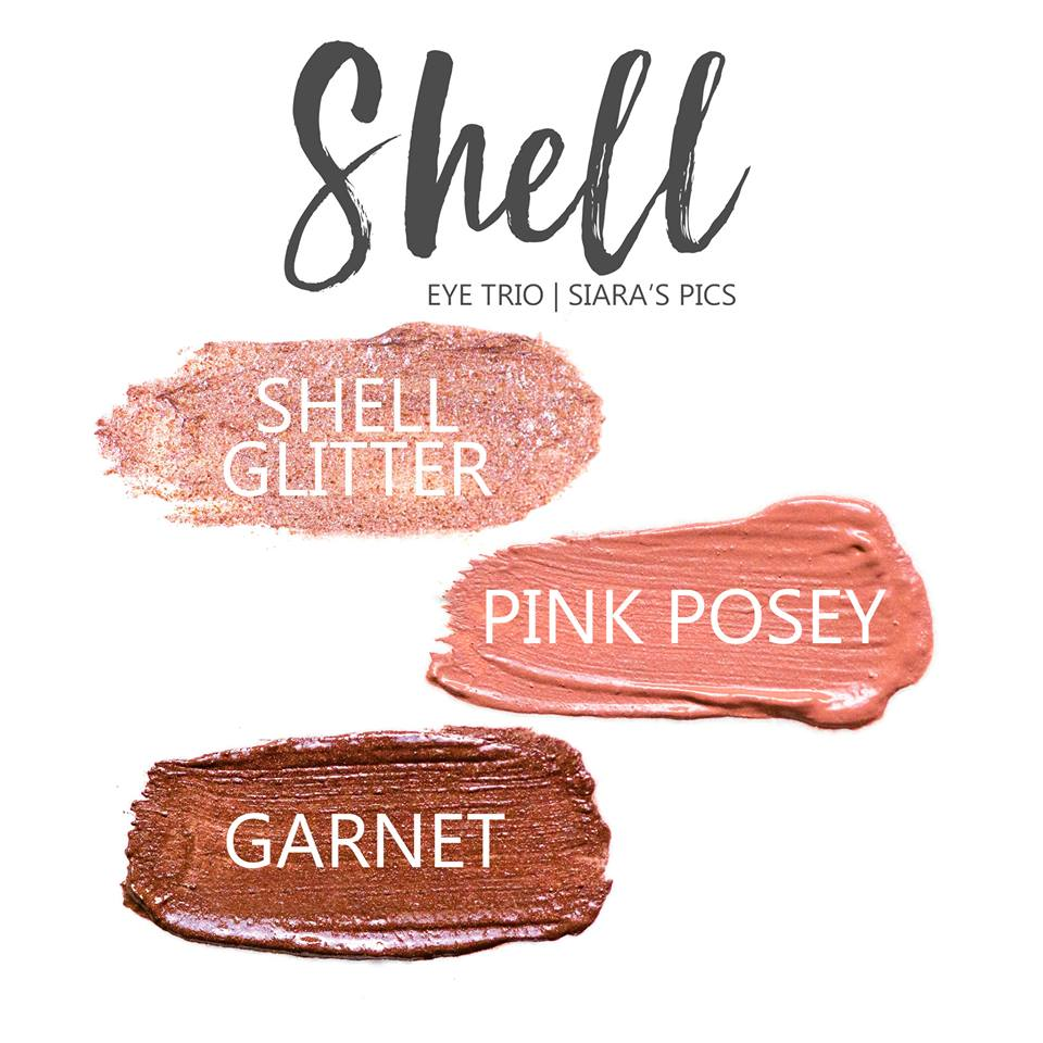 Shell Eye Trio, Shell Glitter Shadowsense, Pink Posey ShadowSense, Garnet ShadowSense