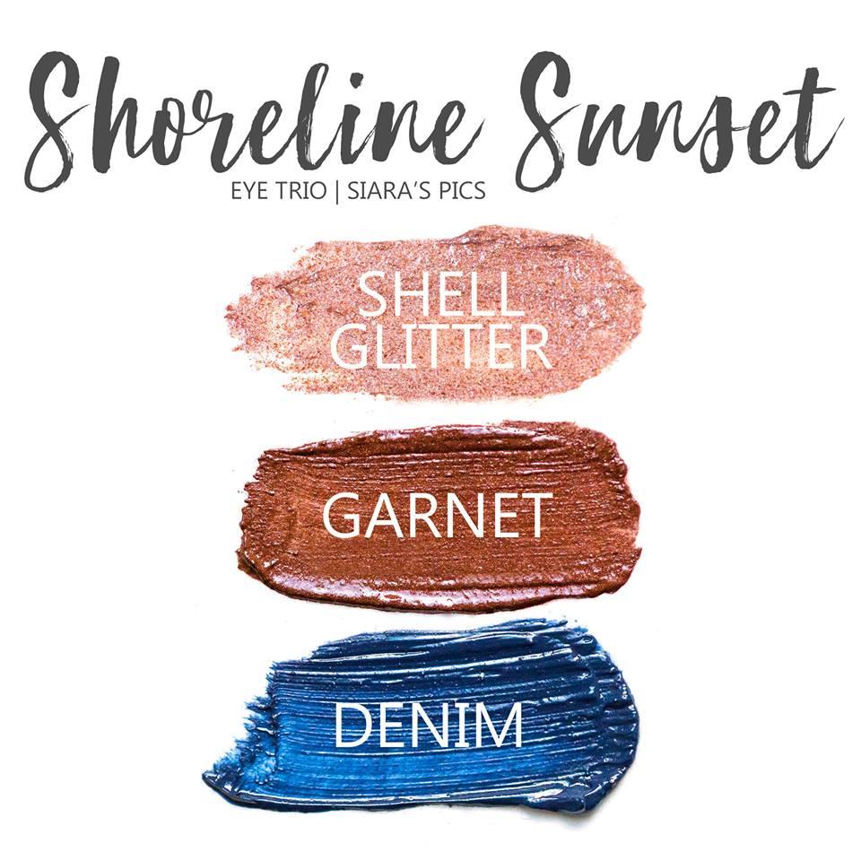 Shoreline Sunset Eye Trio, Shell Glitter ShadowSense, Garnet ShadowSense, Denim ShadowSense