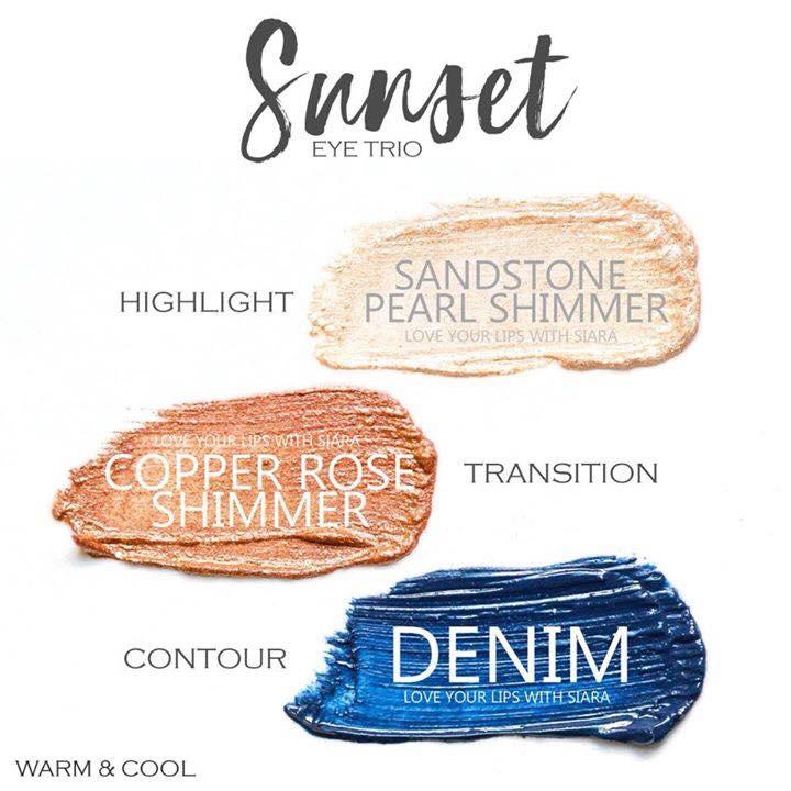 Sunset Eye Trio, Sandstone Pearl Shimmer ShadowSense, Copper Rose Shimmer ShadowSense, Denim ShadowSense