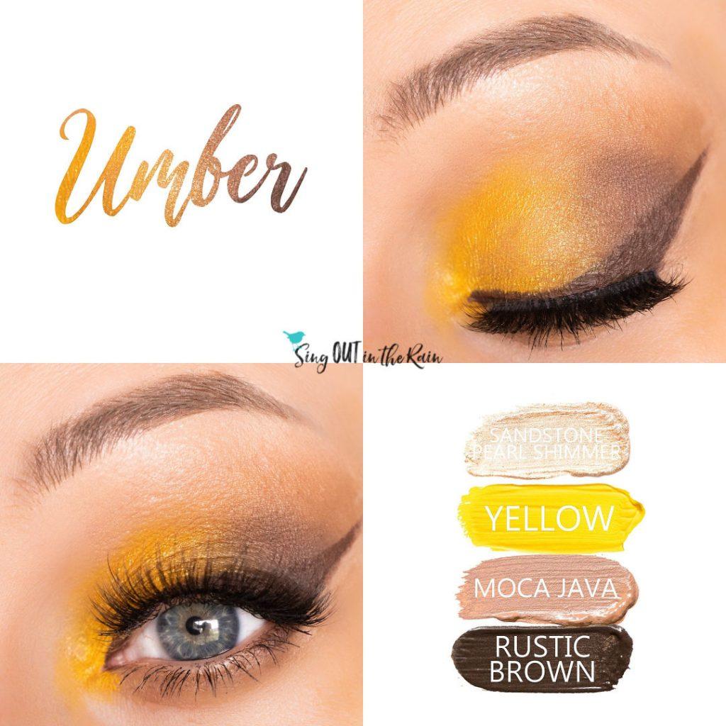 Umber Eye Look, Sandstone Pearl Shimmer ShadowSense, Yellow ShadowSense, Moca Java ShadowSense, Rustic Brown ShadowSense