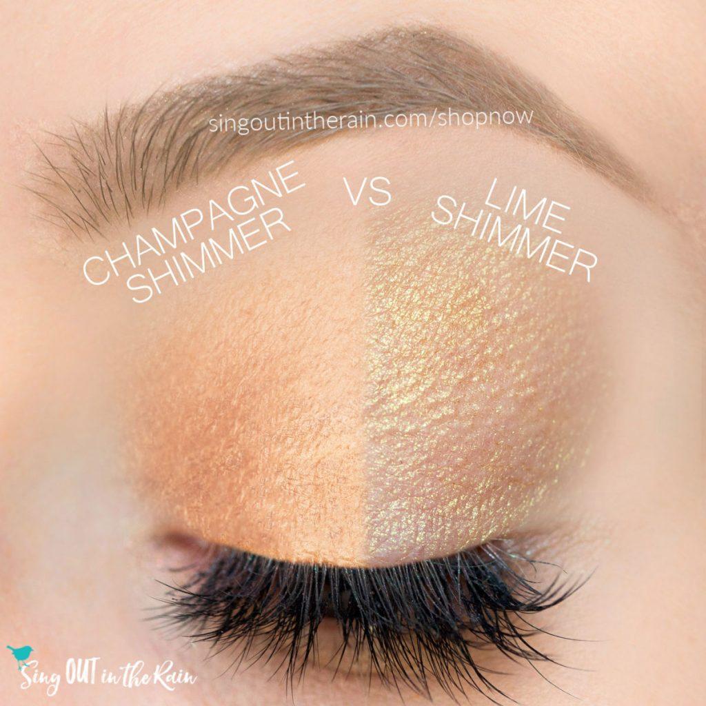 champagne shimmer shadowsense vs. lime shimmer shadowsense