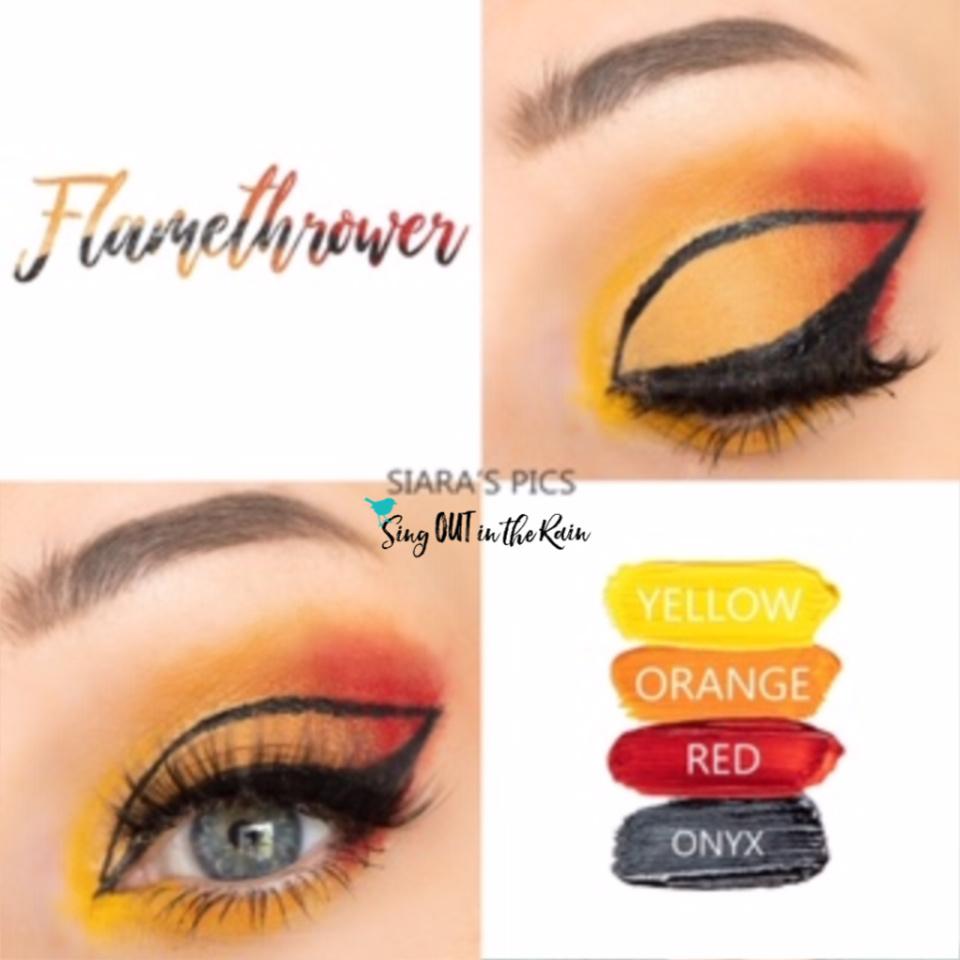 Flamethrower Eye Look, Yellow ShadowSense, Orange ShadowSense, Red ShadowSense, Onyx ShadowSense