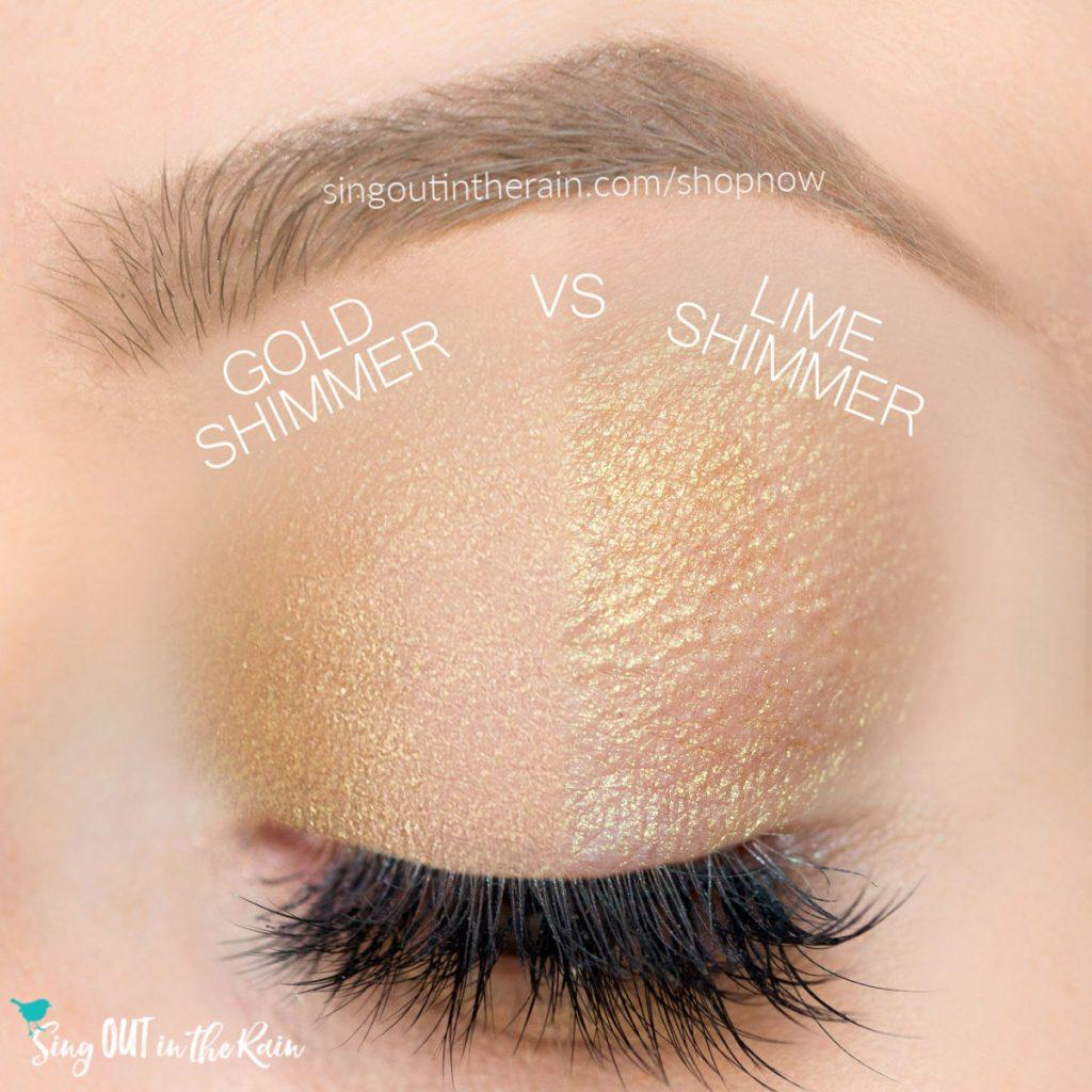 gold shimmer shadowsense, lime shimmer shadowsense
