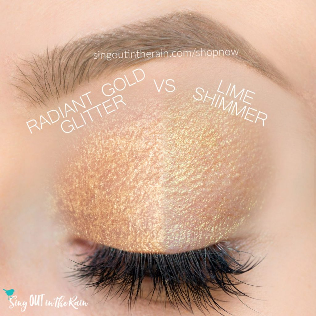 radiant gold glitter shadowsense, lime shimmer shadowsense