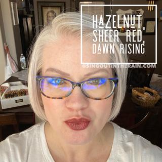 Dawn Rising Lipsense, LipSense Mixology, Sheer Red LipSense, Hazelnut Lipsense