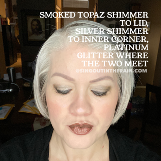 Smoked Topaz Shimmer ShadowSense, Silver Shimmer ShadowSense, Platinum Glitter ShadowSense