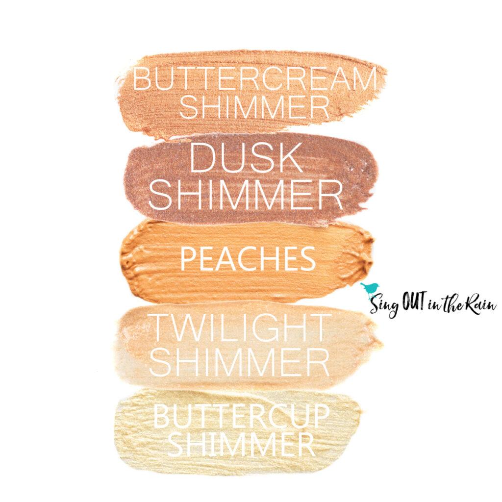 Buttercream Shimmer SHadowSense, Dusk Shimmer ShadowSense, Peaches ShadowSense, Twilight Shimmer ShadowSense, Buttercup Shimmer ShadowSense