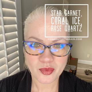 Star Garnet LipSense, Coral Ice LipSense, Rose Quartz LipSense