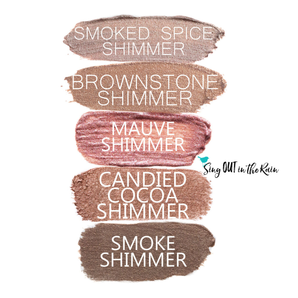Smoked Spice Shimmer ShadowSense, Brownstone Shimmer ShadowSense, Mauve Shimmer ShadowSense, Candied Cocoa Shimmer ShadowSense, Smoke Shimmer ShadowSense