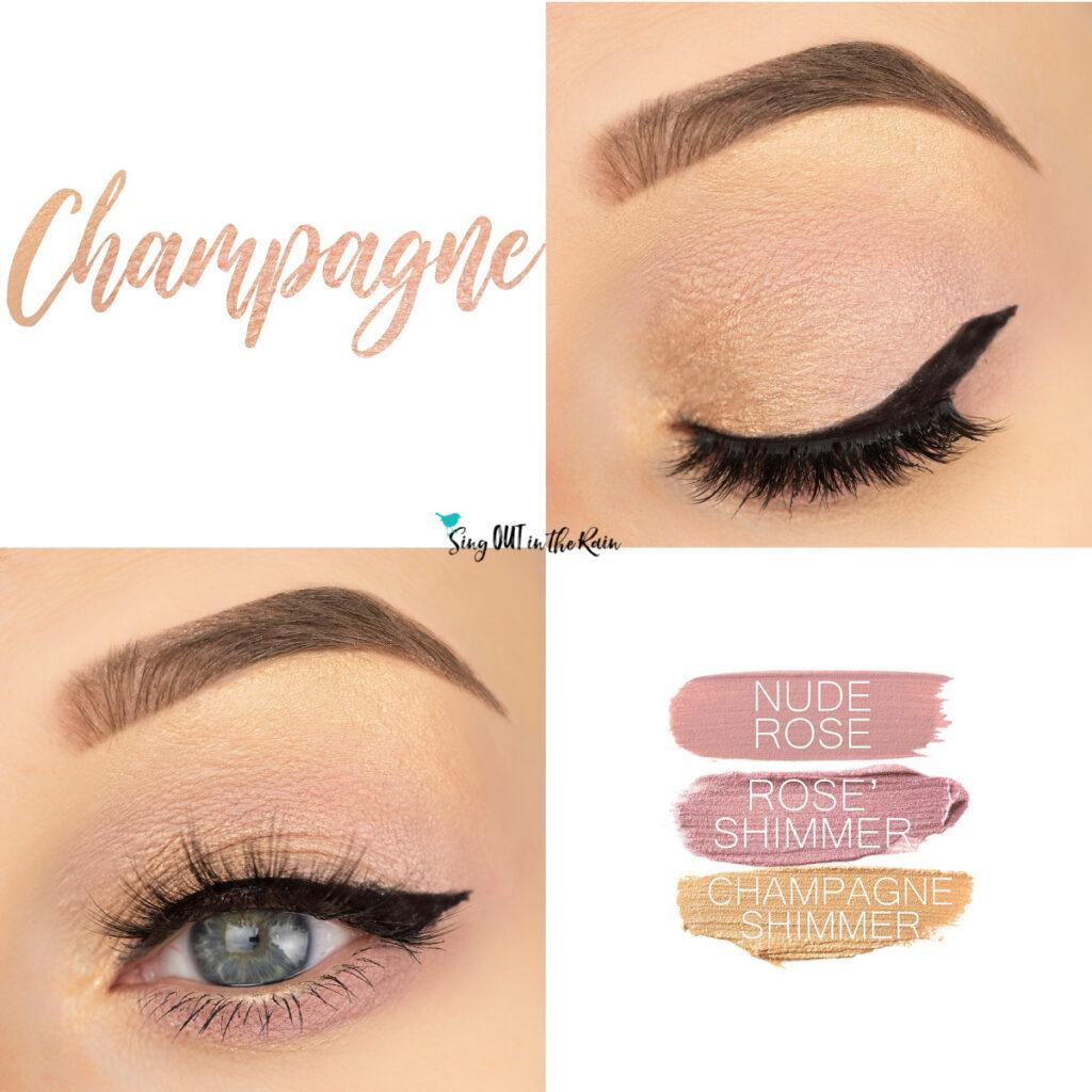 Champagne Eye Look, Nude Rose ShadowSense, Rose Shimmer ShadowSense, Champagne Shimmer ShadowSense