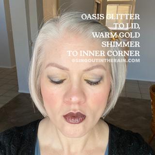 Warm Gold Shimmer shadowsense, oasis glitter shadowsense