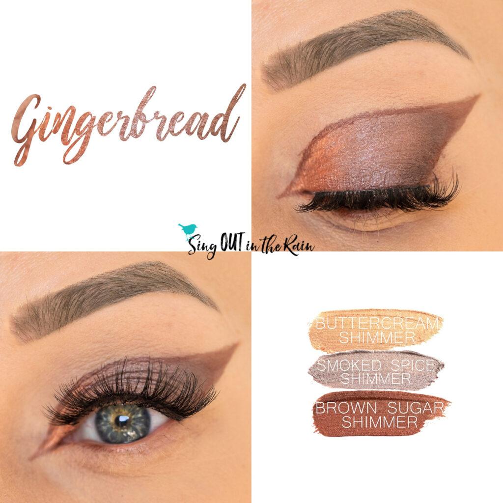 Smoked Spice Shimmer ShadowSense, Buttercream Shimmer ShadowSense, Brown Sugar Shimmer Shadowsense, Gingerbread Eye Look