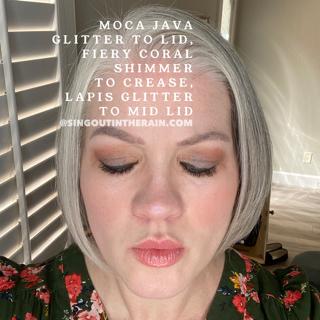 Moca Java Glitter ShadowSense, Fiery Coral Shimmer ShadowSense, Lapis Glitter ShadowSense