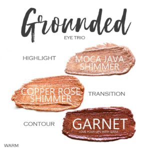 Grounded Shadowsense trio, moca java shimmer shadowsense, copper rose shimmer shadowsense, garnet shadowsense