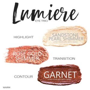 Lumiere ShadowSense Trio, sandstone pearl shimmer shadowsense, rose gold shimmer shadowsense, garnet shadowsense