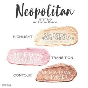 Neopolitan shadowsense trio, sandstone pearl shimmer shadowsense, pink opal shimmer shadowsense, moca java shimmer shadowsense