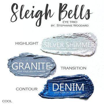 Sleigh Bells shadowsense trio, silver shimmer shadowsense, granite shadowsense, denim shadowsense