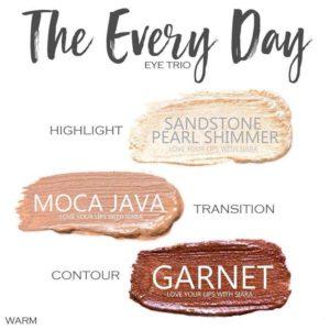 The Every Day shadowsense trio, sandstone pearl shimmer shadowsense, moca java shadowsense, garnet shadowsense