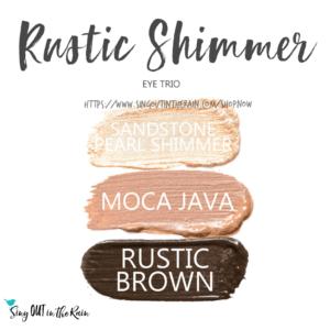 Rustic Shimmer Shadowsense eye trio, sandstone pearl shimmer shadowsense, moca java shadowsense, rustic brown shadowsense