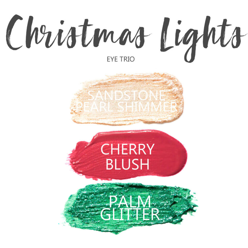 christmas lights ShadowSense eye trio, sandstone pearl shimmer shadowsense, cherry blushsense , palm glitter shadowsense