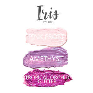 Iris Shadowsense eye trio, Pink Frost Shadowsense, Amethyst Shadowsense, Tropical Orchid Glitter Shadowsense