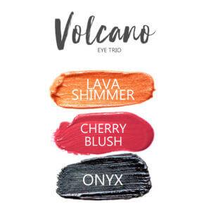 Volcano ShadowSense eye trio, Lava Shimmer Shadowsense, Cherry BlushSense, Onyx shadowsense