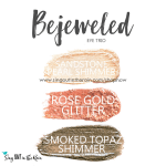 Bejeweled eye trio, sandstone pearl shimmer shadowsense, rose gold glitter shadowsense, smoked topaz shimmer shadowsense