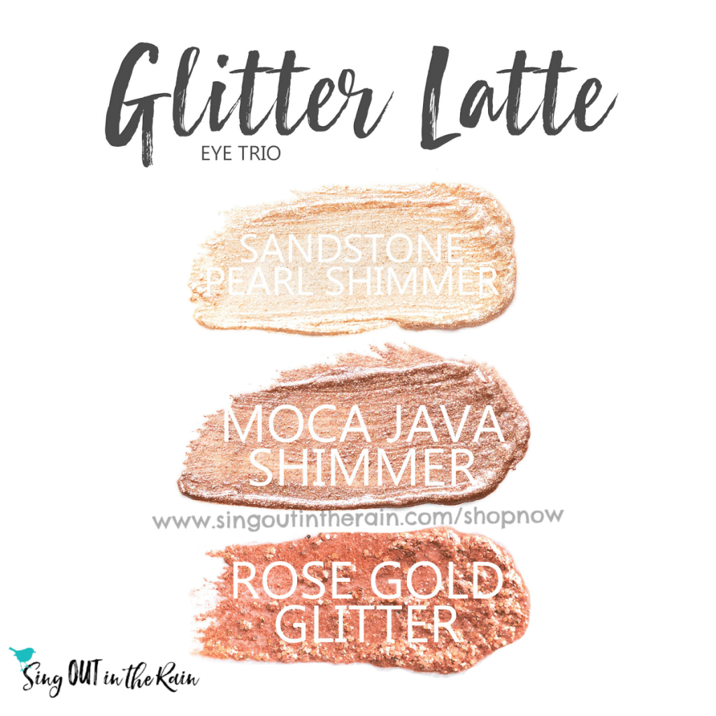 Glitter Latte Eye Trio includes sandstone pearl shimmer, moca java shimmer and Rose Gold Glitter ShadowSense