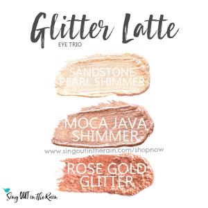 Glitter Latte Eye Trio includes sandstone pearl shimmer, moca java shimmer and Rose Gold Glitter ShadowSense