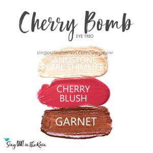 Sandstone pearl shimmer shadowsense, cherry blushsense, garnet shadowsense, cherry bomb trio