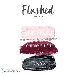 Flushed eye trio, pink frost shadowsense, cherry blush, cherry blushsense, onyx shadowsense