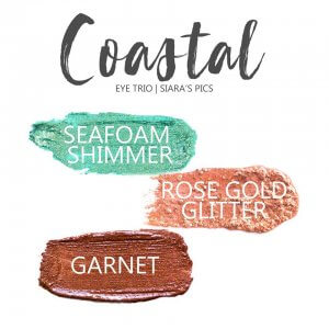 Coastal Shadowsense Eye Trio, Seafoam Shimmer shadowsense, rose gold glitter shadowsense, garnet shadowsense