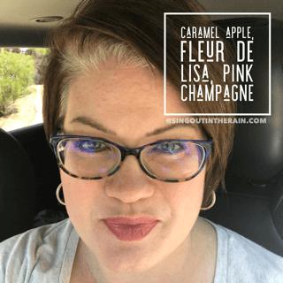 caramel apple lipsense, pink champagne lipsense, lipsense mixology, pink champagne lipsense combinations, fleur de lisa lipsense,