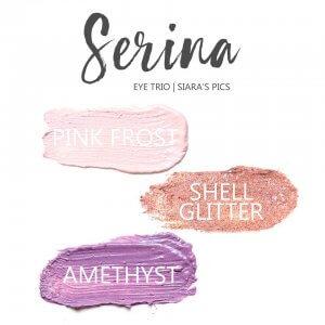 Serina Shadowsense eye trios, pink frost shadowsense, shell glitter shadowsense, amethyst shadowsense