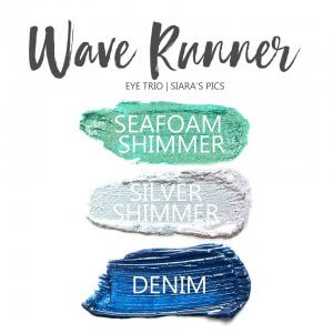 Wave Runner Shadowsense eye trio, seafoam shimmer shadowsense, denim shadowsense, silver shimmer shadowsense