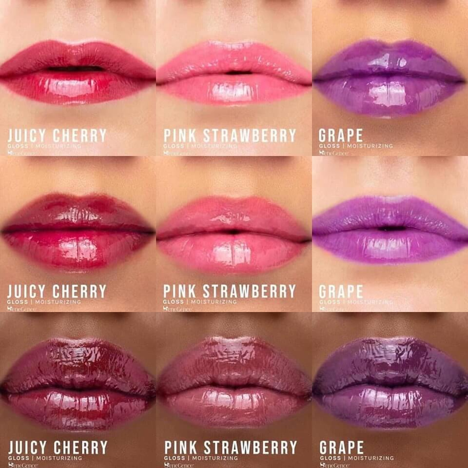 grape gloss, lipsense gloss jellies collection, juicy cherry gloss, grape gloss, pink strawberry gloss, gloss jellies by senegence, gloss jellies by lipsense
