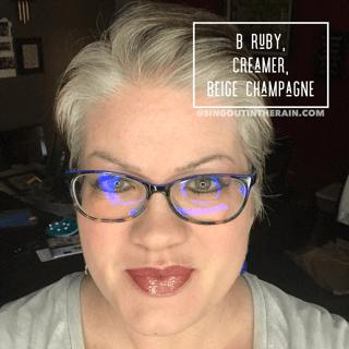 B. Ruby LipSense, Creamer LipSense, Beige Champagne LipSense, LipSense Mixology