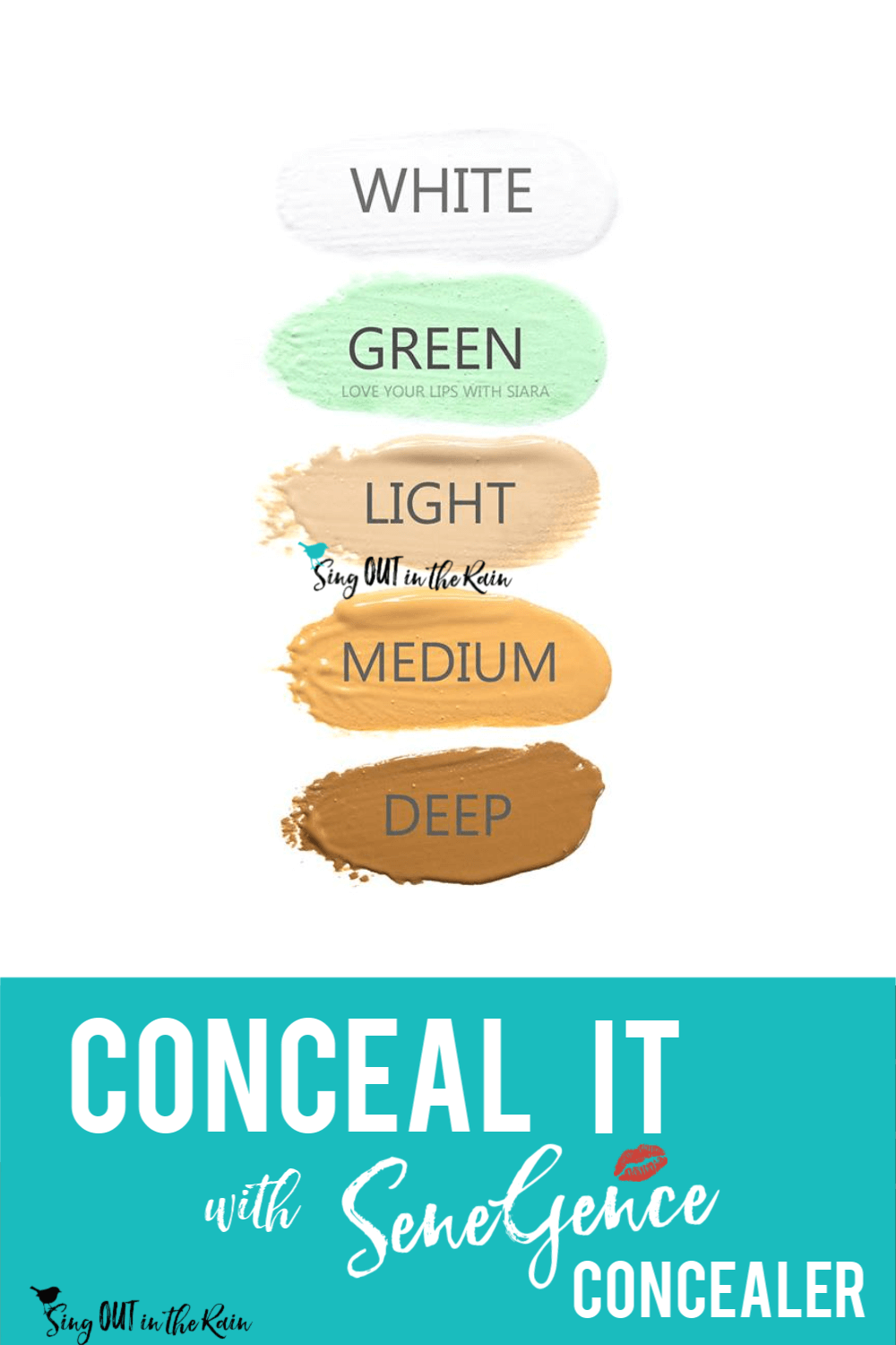 SeneGence corrective color concealer comes in five colors: white, light, medium, deep and green.  Get your MOST natural look ever by combining SeneGence foundation and concealer.  #concealer #senegence #correctivecolor