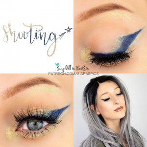Shooting Star Eye Trio, Gold shimmer Eyeliner, Navy Eyeliner