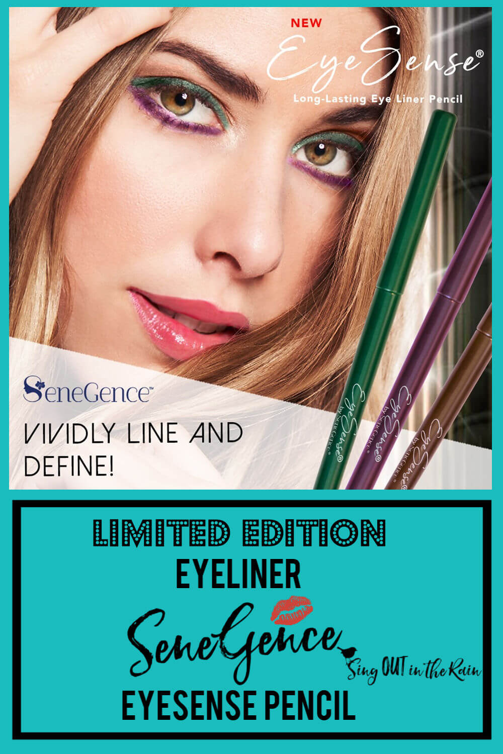 SeneGence has three Limited Edition Eyeliner Pencil colors : purple, green and brown. Create the perfect eye with this eyesense product by the same makers of LipSense.  #senegence #eyeliner #limitededition #eyesense