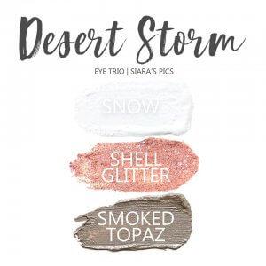 Desert Storm Eye Trio, Shell Glitter ShadowSense, Smoked Topaz ShadowSense, Snow ShadowSense