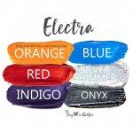 Electra Eye Look, Orange ShadowSense, red shadowsense, indigo shadowsense, blue shadowsense, silver shimmer shadowsense, onyx shadowsense