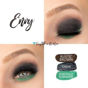 Envy Eye Trio, Rustic Brown ShadowSense, Onyx ShadowSEnse, Emerald Shimmer Shadowsense