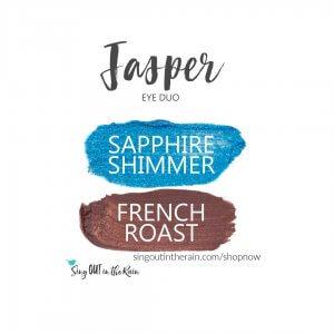 Jasper Eye Duo, Sapphire shimmer shadowsense, french roast shadowsense