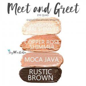 Meet and Greet Eye Quad, sandstone pearl shadowsense, copper rose shimmer shadowsense, moca java shadowsense, rustic brown shadowsense
