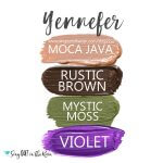 Yennefer Eye Quad, Moca Java Shadowsense, Rustic Brown Shadowsense, mystic moss Shadowsense, Violet Shadowsense