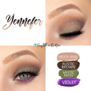 Yennefer Eye Quad, Moca Java Shadowsense, Rustic Brown Shadowsense, mystic moss Shadowsense, Violet Shadowsense